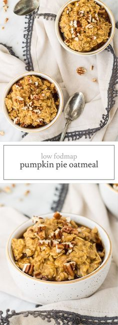 Filled with whole grain oats and nutrient-packed pumpkin, this Low Fodmap Pumpkin Pie Oatmeal is a fantastic fall-inspired breakfast. Gluten free and vegetarian Fodmap Breakfast, Easy Healthy Breakfast, Brunch Recipes, Breakfast Recipes, Breakfast Ideas, Free Breakfast, Fodmap Recipes, Fodmap Foods, Diet Recipes