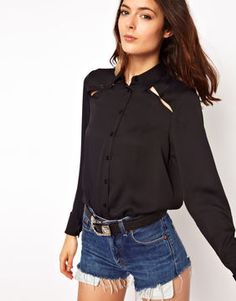 ASOS Shirt With Peekaboo Shoulder And Tab Detail on shopstyle.co.uk