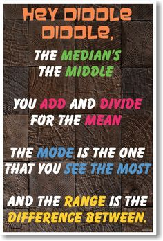 Hey Diddle Diddle New Classroom Math Science Poster---My kids love this to help remember central tendency etc.