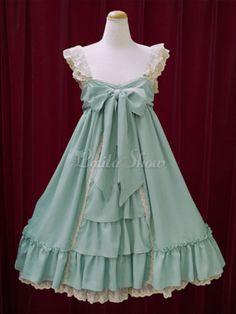 Schickes Lolita Kleid Chiffon mit viereckigem Ausschnitt und Schleife im süßen und hübschen Style