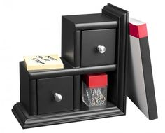 """Victor Reversible Bookend, Midnight Black Collection, Model 8901-5 (Black) (9""""H x 9""""W x 4.25""""D)"""