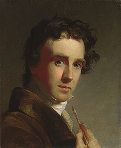 Portrait of the Artist, 1821  Thomas Sully (American, 1783–1872) - Sully began the painting on May 8, 1821, & completed it on May 15. The artist is shown interrupted at his work, & emphasizes his profession through the paintbrush pointing to his sharply lit head. This device is common in self-portraits of artists, and Sully is thought to have adapted it from a similar work by Benjamin West, with whom he studied in London. Although Sully's brushwork is unusually restrained