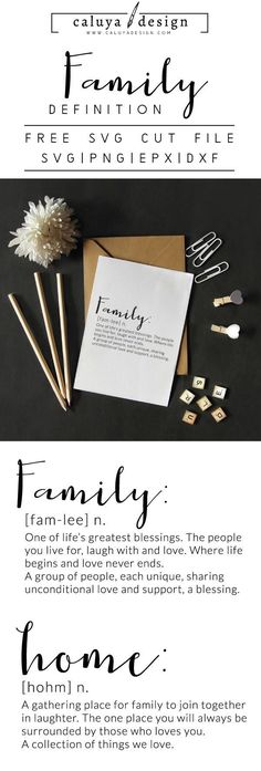 FREE Family Definition Quote SVG cut file, Printable vector clip art download. Free printable clip art Family Definition Quote. Compatible with Cameo Silhouette, Cricut explore and other major cutting machines. free for personal use, only $3 for commercial use. Perfect for DIY craft project with Cricut & Cameo Silhouette, card making, scrapbooking, making planner stickers, making vinyl decals, decorating t-shirts with HTV and more! Free SVG cut file, family SVG cut file, Home SVG file
