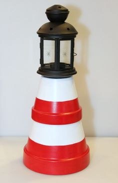 An inexpensive craft project made with clay pots is a lighthouse for a garden decoration. This is a guide about making a terra cotta lighthouse. Clay Pot Projects, Clay Pot Crafts, Large Terracotta Pots, Terracotta Paint, Clay Pot Lighthouse, Pots D'argile, Outdoor Topiary, Clay Pot People, Outdoor Crafts
