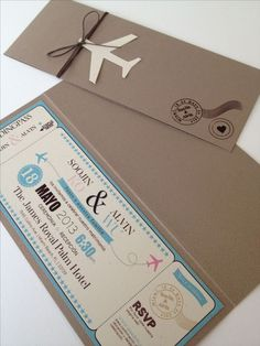 Boarding pass invitation would be perfect for a moving party or destination wedding Creative Wedding Invitations, Wedding Stationary, Wedding Invitation Cards, Wedding Cards, Invites, Original Wedding Invitations, Party Invitations, Wedding Themes, Wedding Designs