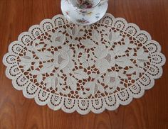 Lace Centerpiece Doily Natural Color Chemical Lace from mercymaude on Ruby Lane