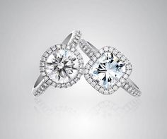 A classically modern engagement ring, the Aura Solitaire, with micro-pave halo setting from De Beers.
