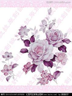 手绘花卉设计素材图案(主体花纹未分层)