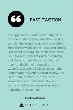 The Modern Girl's Eco Fashion Dictionary | COSSAC ethical fashion sustainable fashion fast fashion