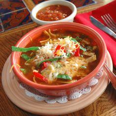 A fantastic mexican tortilla soup recipe you will love. Chicken Tortilla Soup Recipe from Grandmothers Kitchen. Mexican Tortilla Soup, Cheese Burger Soup Recipes, Mexican Chicken Recipes, Mexican Dishes, Beef Recipes, Cooking Recipes, Healthy Recipes, Healthy Meals, Yummy Recipes