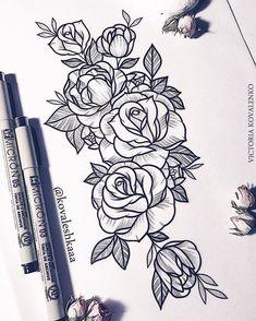 860 Likes, 4 Comments - Victoria Kovalenko Music Tattoos, Rose Tattoos, Flower Tattoos, Body Art Tattoos, New Tattoos, Sleeve Tattoos, Tatoos, 3 Roses Tattoo, Forearm Tattoos