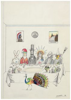 "Saul Steinberg ""Peacock Thanksgiving"", 1976 © 2010 The Saul Steinberg Foundation/ Artists Rights Society (ARS), New York. Photo courtesy The Pace Gallery We hope you have a colorful feast tomorrow! All four Pace Gallery locations will be open to the public Friday and Saturday after Thanksgiving for you to fill your art palette."