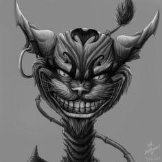 *Updated* One of my old artwork in inspired by the game ALICE MADNESS RETURNS. Cheshire Cat Art, Cheshire Cat Tattoo, Lewis Carroll, Anubis, Dark Alice In Wonderland, Wonderland Party, Dark Souls Art, Dark Art, Creepy Cat