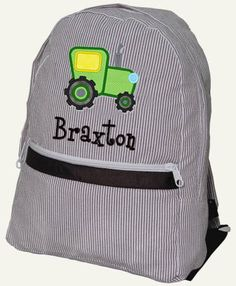 Children Backpack Personalized Tractor Seersucker Monogrammed Brown Navy Red.   34.99... a gift 1826d3d584ce9