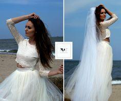 Romantyczna dwuczęściowa sukienka ślubna - natfashionroom - Sukienki maxi