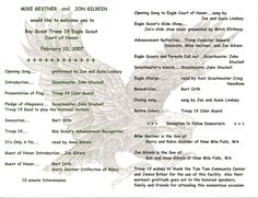 1000 images about eagle court of honor on pinterest for Eagle scout court of honor program template