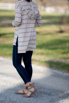 Stripes and Lace Up Flats