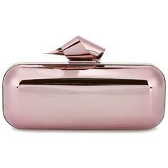 Jimmy Choo Jimmy Choo Cloud Tube Clutch (20.764.465 IDR) ❤ liked on Polyvore featuring bags, handbags, clutches, pink purse, clasp handbag, hard clutch, metal purse and pink clutches