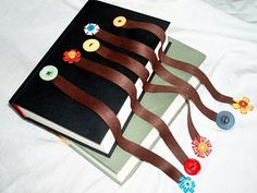 Ribbon and button bookmarks.  We made something similar but glued the buttons on instead.  Great gifts!!