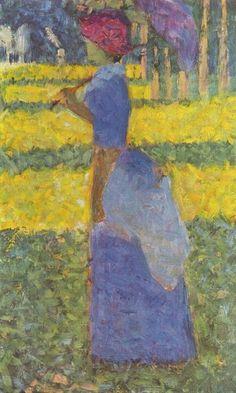 Georges Seurat.  Frau mit Sonnenschirm. 1884, Öl auf Leinwand. Zürich, Sammlung E. G. Bührle. Pointillismus. Frankreich. Neo-Impressionismus.  KO 02093