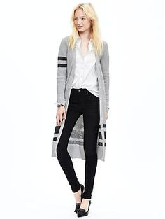 Multi-Stripe Long Cardigan | Banana Republic