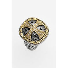 Women's Konstantino 'Diamond Classics' Diamond Cross Two-Tone Ring
