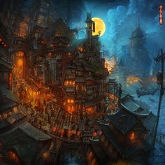 The Art Of Animation — Zhichao Cai Art Works, Animation Art, Painting, Fantastic Art, Illustration Art, Environment Design, Fantasy City, Art, Digital Painting