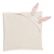 Couverture Capuche Oreilles Lapin Blanc