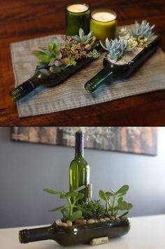 Leve no vidraceiro a garrafa e peça para fazer um corte lateral. Em casa, corte…