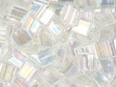 Miyuki 5mm Transparent Rainbow Crystal Tila Square Tube Bead 8g Bag
