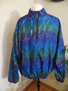 Vintage 80's Surf Style Jacket Windbreaker One Size Neon Blue RARE DESIGN USA
