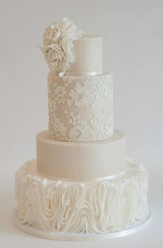 Chic white lace and ruffle texture wedding cake; Featured Cake: Heartsweet Cakes