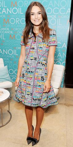 Keira Knightley was all smiles at TIFF in a sculpted colorfully embroidered Chanel dress with bow-topped loafer heels.