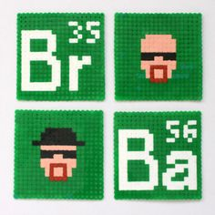 Quick Tip: Make an Awesome Set of Pixel Art Breaking Bad Coasters By Rebecca Lowrey Boyd Perler Beads, Perler Bead Art, Fuse Beads, Melty Bead Patterns, Hama Beads Patterns, Beading Patterns, Breaking Bad, Pixel Art Difficile, Nerd Crafts