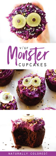 Vegan Halloween Monster Cupcakes {gluten-free, oil-free, naturally colored}