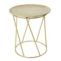 Mango Wood and Gold Metal Side Table on Maisons du Monde. Take your pick from our furniture and accessories and be inspired! Find Furniture, Unique Furniture, Furniture Decor, Rattan Armchair, Indian Living Rooms, Wood Sideboard, Metal Side Table, Wooden Tops, Gold Wood