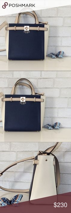 NWT Kate Spade Houston Street Leo French Navy Classy and stylish NWT Authentic Leo Houston Street French Navy leather bag from Kate Spade New York. Color Navy /Tan /White . Magnetic snap closure  . Interior zip and double side pockets . Double flat leather handles and detachable cross body strap. (I do NOT trade). kate spade Bags Crossbody Bags