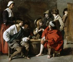 """The Young Card-players"" by the Brothers Le Nain (1630-1640) in the Royal Collection, UK - From the curators' comments: ""To the modern eye, this painting has a compositional directness and a strong tonal range that are immediately appealing. The central group are playing Primero or Primiera, a forerunner of poker. The theatrical lighting, falling sharply from the left, defines the objects and clothes, and the enigmatic gesture of the boy entering the room on the right adds an air of…"