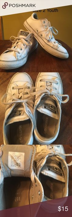 Converse Leather Shoes Leather upper converse shoes.  Good but used condition.  May need new laces. White. Converse Shoes Sneakers