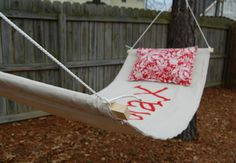 Make a DIY hammock for summer by repurposing an old drop cloth