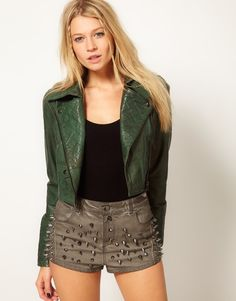 Asos Collection  Short Quilted Biker Jacket in Green (khaki)