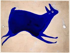 Bill Traylor (c. 1854-1949) Untitled (Blue Rabbit Running) poster paint and pencil on cardboard, 9 x 117/8 in. c. 1939-1942