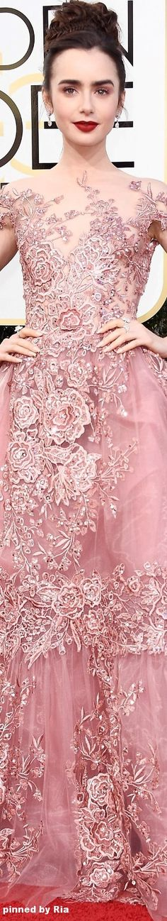 Who made Lily Collin's pink lace gown, silver sandals, and jewelry? Evening Dresses, Prom Dresses, Formal Dresses, Wedding Dresses, Lily Collins, Fashion Mode, Pink Fashion, Beautiful Gowns, Beautiful Outfits