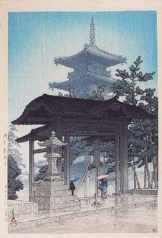 """Zentsuji Temple in Rain"", Hasui Kawase (1883-1957) - part of the ""Scenic Views of Japan II"" (Kansai Edition), 1937."