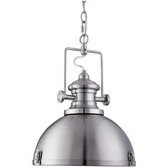 This Satin Silver Industrial Pendant Light with Acrylic Diffuser has a solid industrial style with a sleek satin silver finish. The dome shade has stylish, chunky metal features around its rim and its top, with a metal chain attaching it to the ceiling. Metal Ceiling, Ceiling Pendant, Pendant Lamp, Ceiling Lights, Mini Pendant, Industrial Pendant Lights, Pendant Lighting, Industrial Style, Pendant Light Fitting