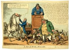 A Sale of Fox Hounds DescriptionPolitical satire: an auctioneer knocking down a pack of hounds with the human faces of the cabinet, held by Sheridan, while a grey horse neighs. 17 March 1812. Likely refers to the fact that the Prince Regent upon taking power turned his back on his old friends, the Foxite Whigs.