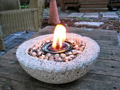 textured concrete firebowl