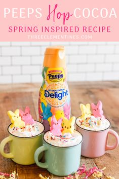 Spring Inspired Recipe: PEEPS Hop Cocoa - Three Clementines, Get ready for Spring with this white hot cocoa recipe using International Delight® PEEPS® Sweet Marshmallow Coffee Creamer! Hot Cocoa Recipe, Cocoa Recipes, Keto, Sugar Sprinkles, Diet Plan Menu, Weird Food, Spring, Coffee Creamer, White Chocolate Chips