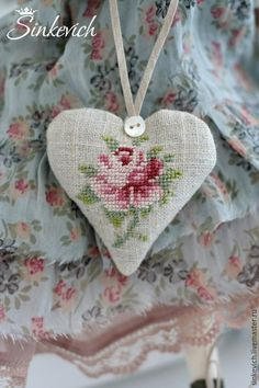 Scented Sachets, Lavender Sachets, Fabric Hearts, Lace Heart, Sewing Art, Hand Embroidery Stitches, Cross Stitching, Handmade Crafts, Cross Stitch Patterns