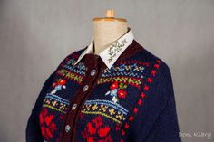 Embroidered Wool cardigan Hand knit navy blue sweater by domklary
